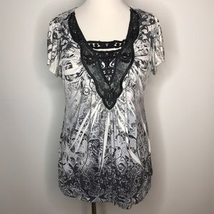 Apt 9 Top Sz 1X Sublimation Lace Cutout Rhinestone